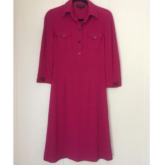 Tahari Dresses & Skirts - Tahari ASL Bright Pink Sheath Shirt Dress Size 4